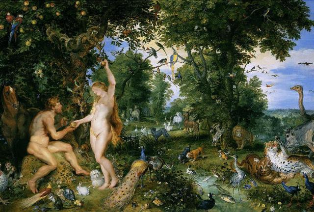 The temptation of man at the garden of Eden by the snake(serptent)
