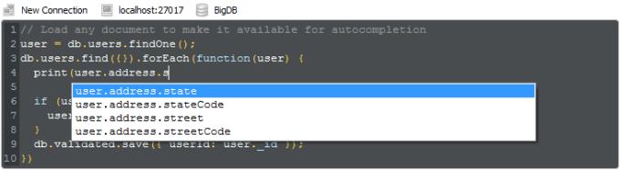 Robomongo: Interactive Shell & Autocompletion