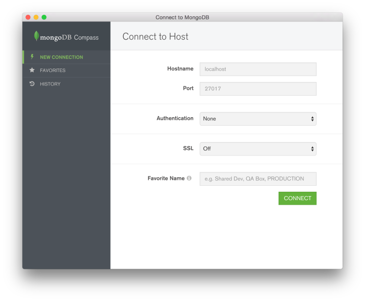 Mongo DB : Compass UI (setting up a new connection)